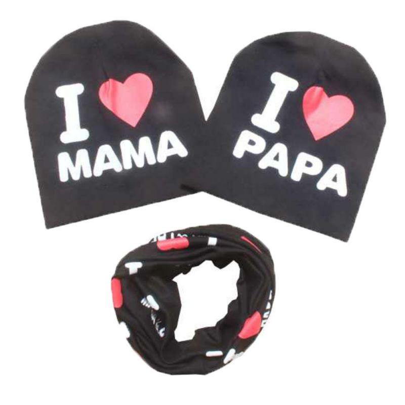 cotton Baby hat scarf Kids Hat Autumn Winter Children scarf-collar Boys Girls warm Beanies I Love Papa Mama print Infant Hats