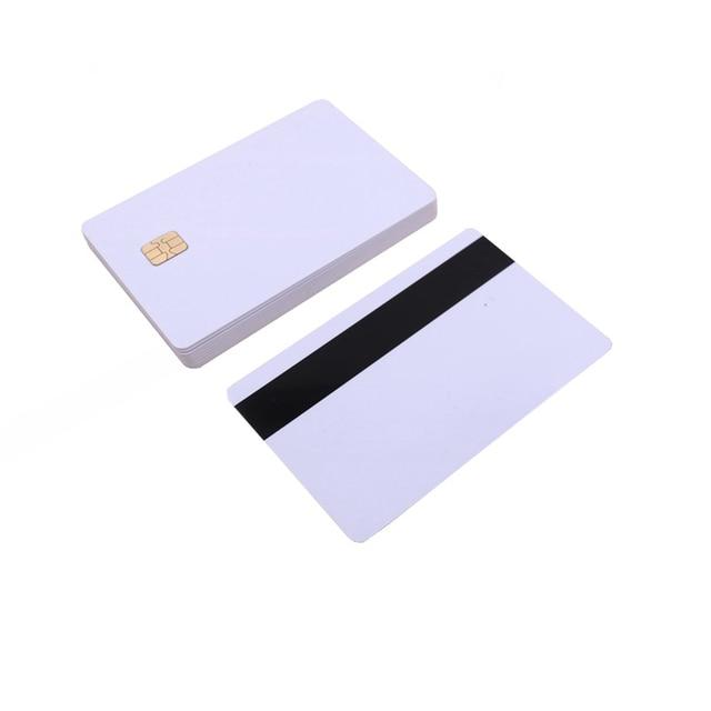 5 шт/10 шт Белая пустая ПВХ Контактная смарт карта IC с 4442 чипом + магнитной полосой 3 треков HiCo