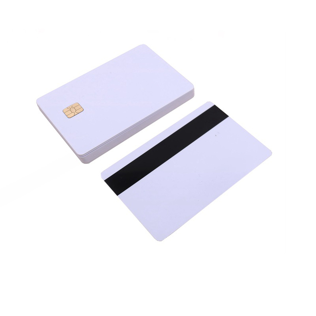 5pcs/10pcs White Blank PVC Contact Smart IC card with 4442 Chip + Magnetic Stripe 3 tracks HiCo