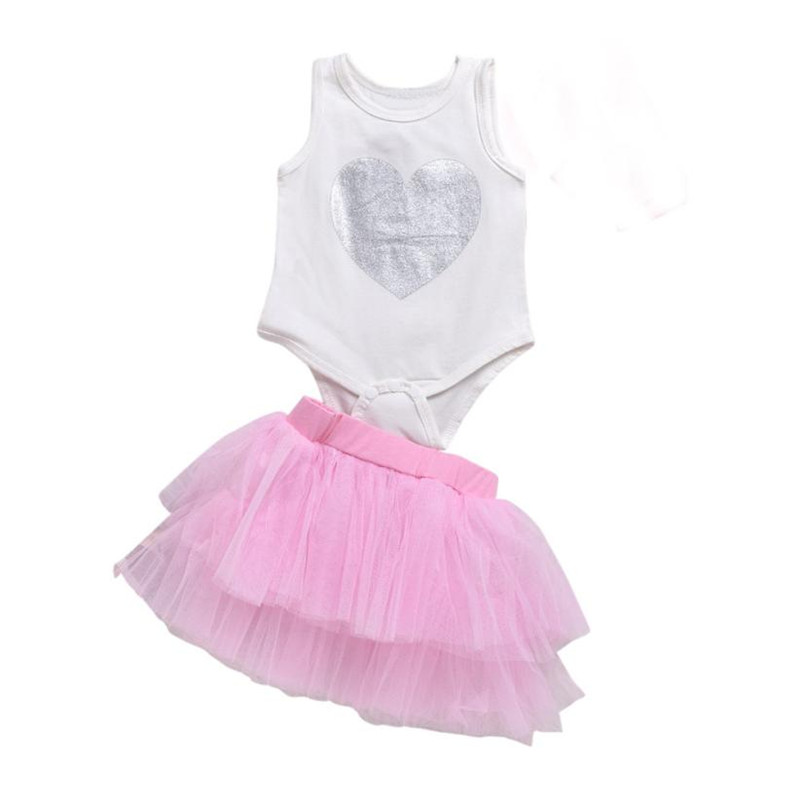 2017 Summer Newborn Infant Baby Gril Print Sleeveless Jumpsuit Princess Lace Tutu Dress Set baby girl clothes sets for newborns