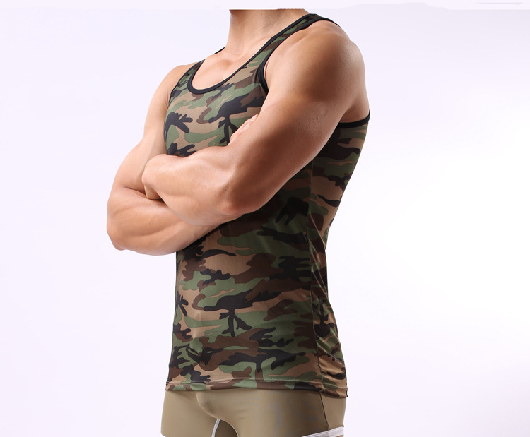 8e9333f76cdc5 Summer Fitness Tops Vest Mens Army Camo Tank Top Sleeveless Shirt for Men s  Military T Shirt Free Shipping-in Tank Tops from Men s Clothing on ...