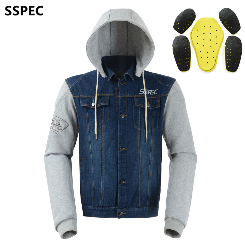 SSPEC Mens Denim motorcycle jacket Off Road Racing hoodies Motorbike motorcross Protective Gear fashion casual sweater