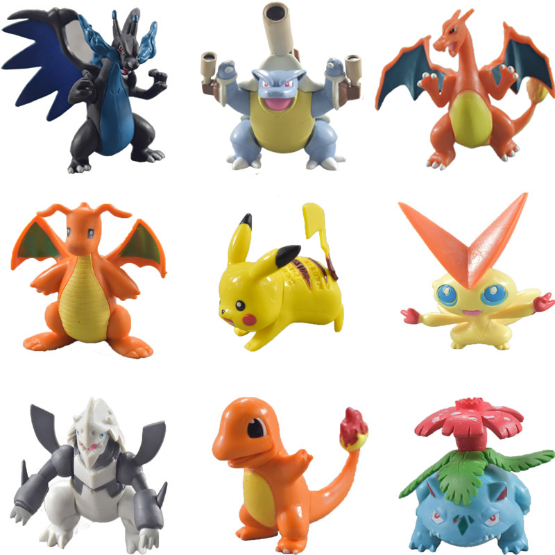 Hot Sale Pikachu Charizard Bulbasaur Toys Anime Action Figures Collection Model Dolls for Children Kids Birthday Gifts.