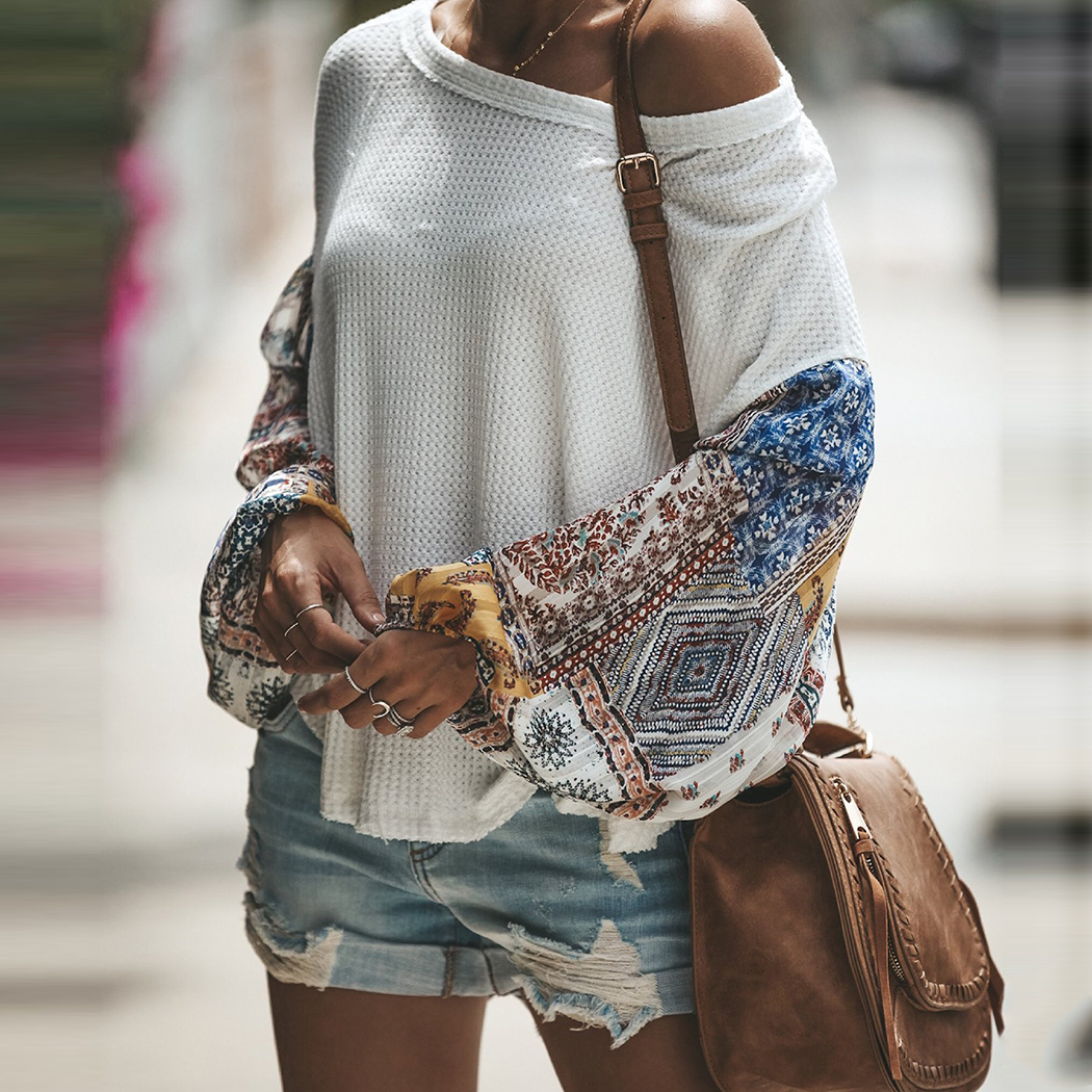 Fashion Women knitting Off Shoulder Patchwork Latern Sleeve Blouse Tops Boho Long Sleeves Casual Beach Loose Shirts Plus Size