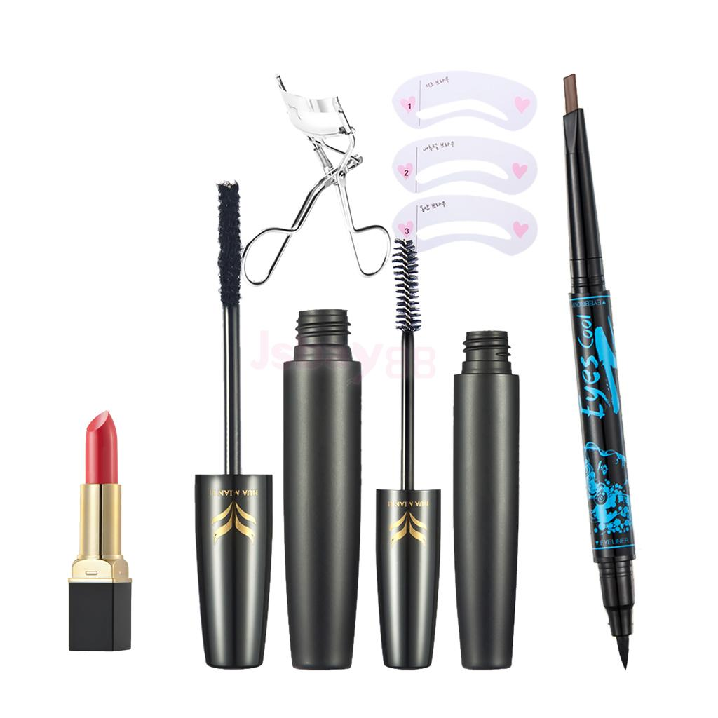 Set 8pcs Cosmetic Makeup Kit - Black Eyeliner Pencil Eyebrow Pen + Lipstick + Fiber Eyelash Mascara+ Curler Clip + 3 Stencil cosmetic makeup dual head eyeliner pencil white black