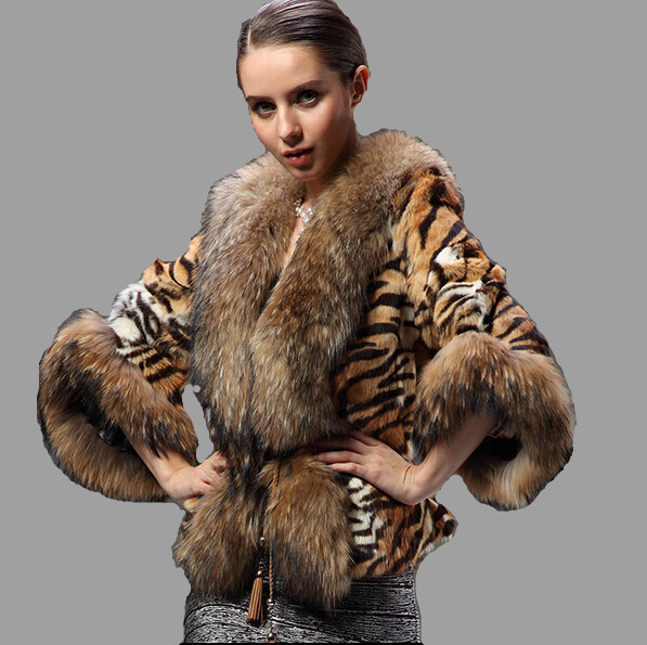Natural Raccoon Fur Coat Genuine Fur Jackets Overcoat Women's Real Rabbit Fur Outerwear Tiger Stripes Leopard Plus Size 6XL Cape
