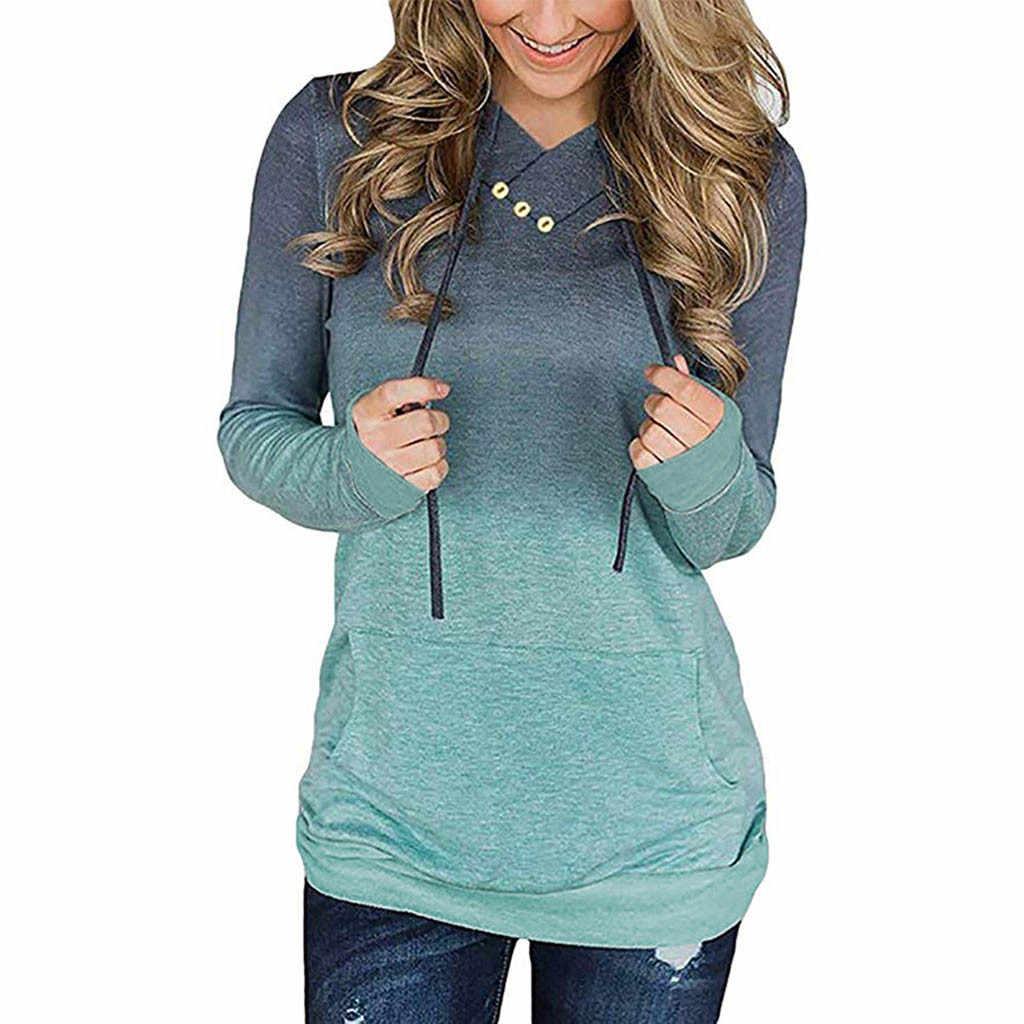 Sudadera de Mujer feitong Sudadera con capucha pulóver 2019 Casual bolsillo de manga larga gradiente Streetwear Sudadera con capucha Sudadera Mujer