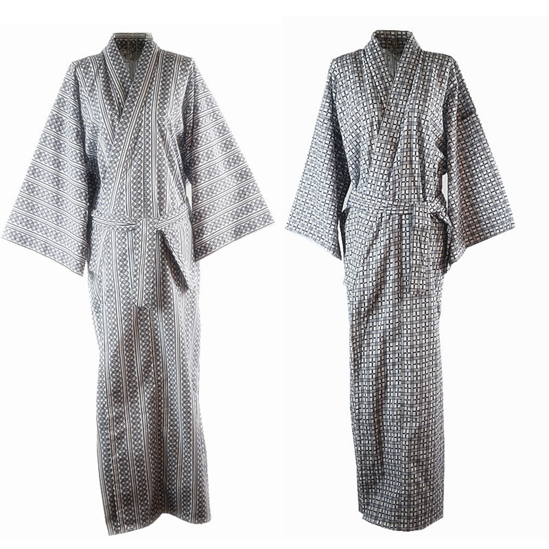 Traditional Japanese Male Cool Kimono Bathrobes Men's Cotton Robe Yukata Men Bath Robe Kimono Sleepwear With Belt 72104