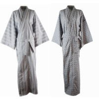 Traditional Japanese Male Cool Kimono Bathrobes Men's Cotton Robe Yukata Men Bath Robe Kimono Sleepwear with Belt 72104