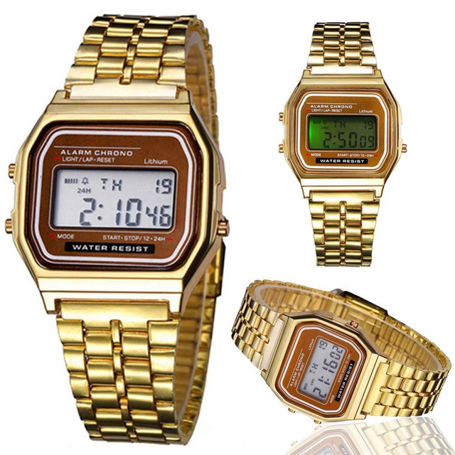 Fashion Men/ Women Elegant Gold LED Watch Retro Stainless Steel Digital Sports S