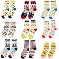 Mujeres otoño invierno marca carácter rayas calcetines de algodón para mujer de moda lindo lunares calcetines cortos s352
