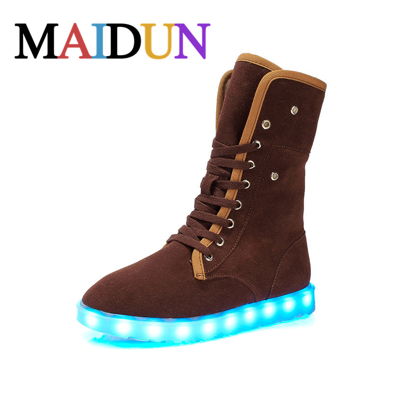ФОТО LED Shoes woman snow boots Light Up Luminous high top shoes women warm boots plush winter Superstar Leisure Casual Hot Fashion