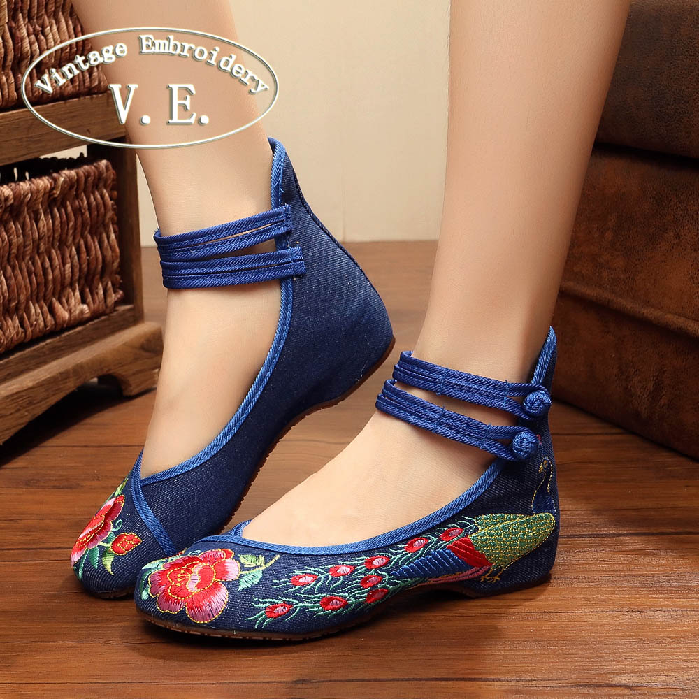 Vintage Embroidery Women Flats Old Beijing Mary Jane Ballet Flat Shoes Peacock Casual Cloth Woman Size 34-43