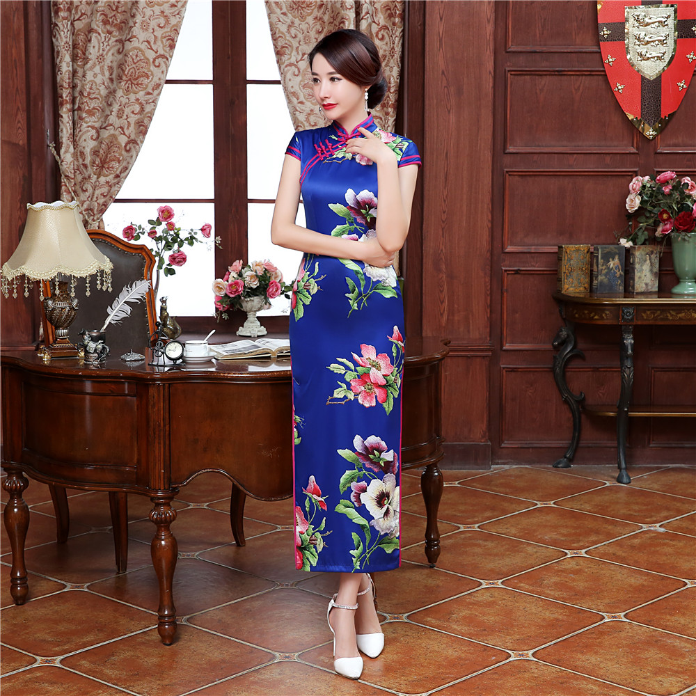 Sexy Royal Blue Ladies' Long Cheongsam Dress Chinese Women Satin Qipao Print Floral Dresses Club Wear Size S M L XL XXL XXXL