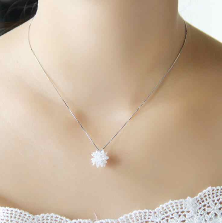 New Trendy White Gold Color 100% Austria Crystal Flower Design Choker Necklace Pendants For Women Fashion Party Jewelry