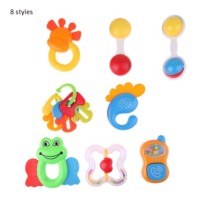 8 Styles Cute Rattle Music Sound Appease Early Learning Intelligence Grasping Gums For Kids Baby Music Toy Plastic Hand Bell