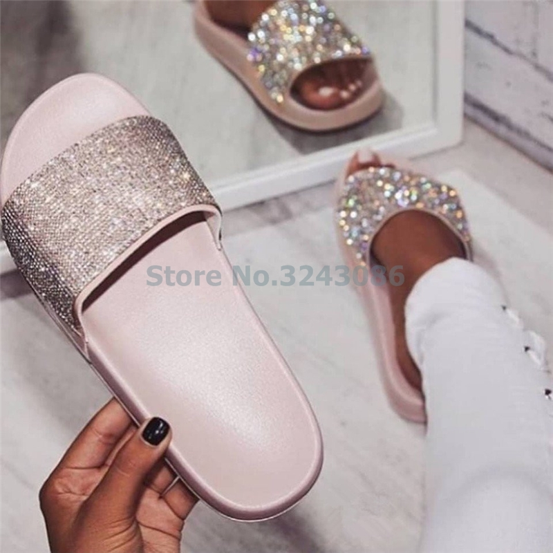 Bling Bling Crystal Flat Outdoor Slippers Casual Gold Pink Black Sliver Fashion Comfortable Women Sandals