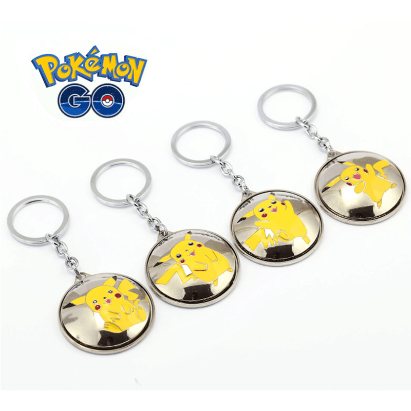 ORP Anime game theme products Pokemon Go Keychain Pikachu lovely expression key chain can be rotated key ring set wholesale