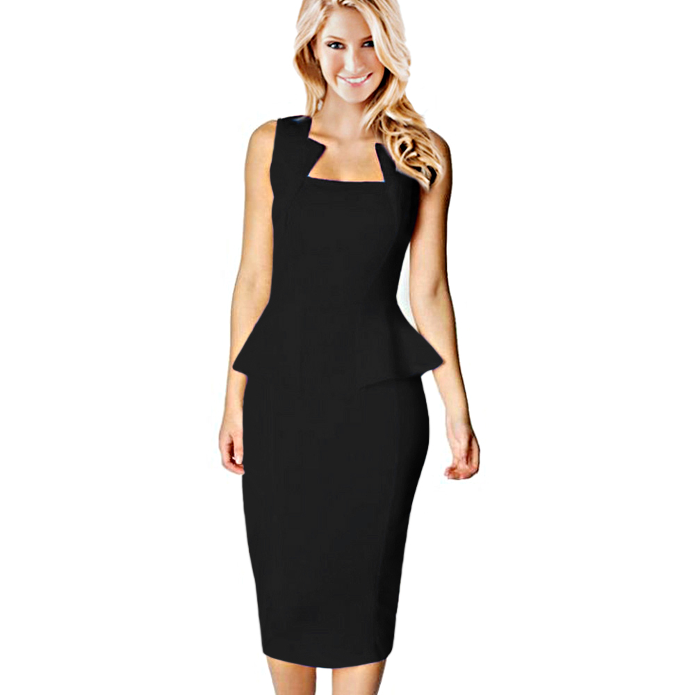 076667111bb Kenancy Clearance Sale Fashion Style Women Summer Dress Sleeveless Solid  Color Knee-Length Office Bodycon Dresses