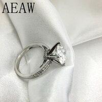3 карат 9 мм круглый разрез FG цвет помолвки и свадьбы Moissanite алмаз 4 кольцевая заклепка Платиновое Покрытие серебро