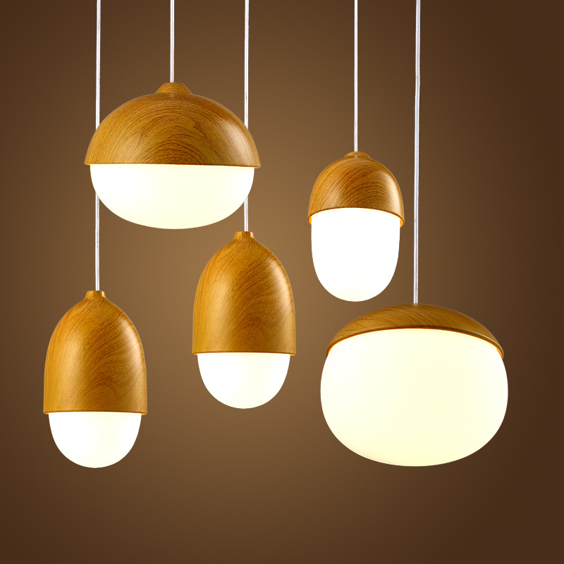 все цены на LuKLoy Imitation Wood Nut Pendant Lamp Industrial Retro Kitchen Shade Light for Dining Room Restaurant Island Decoration