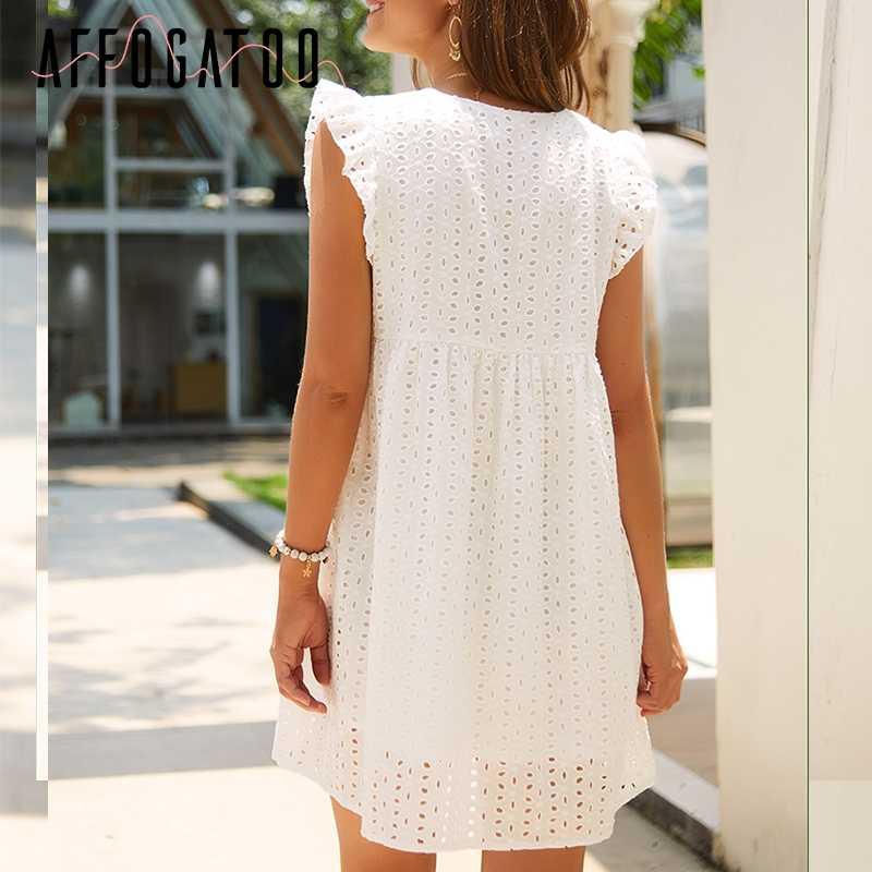 Afogafoo элегантное платье с v-образным вырезом и рюшами, с вышивкой, хлопковое белое платье, женское кружевное короткое женское платье, летнее праздничное платье большого размера