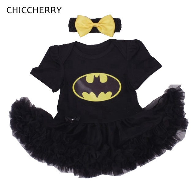 Cute Batman Black Lace Tutu Baby Girl Dress with Headband Kids Party Dresses for Girls Clothes Vestido Bebe Infant Clothing