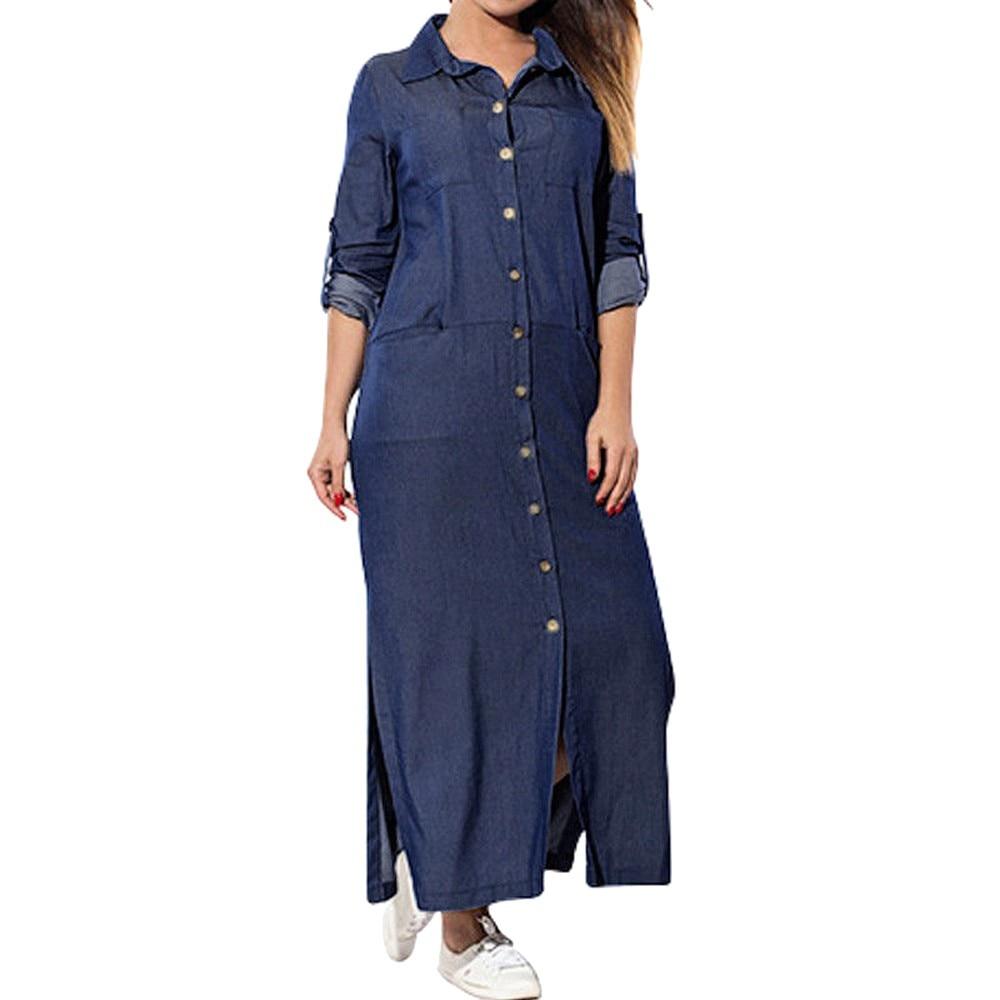 fe173c1770 Aliexpress.com : Buy Women's Sundress Pockets Loose Swing T Shirt Dress  Long Sleeve Denim Solid Dresses casual ladies Dresses vestidos verano 2018  from ...