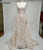 Moderne persoonlijkheid scoop hals arabische bruidsjurken kant patronen parel roze trouwjurk schede binnen met buitenste trein