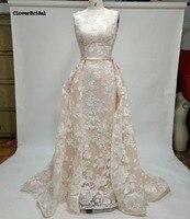 Nowoczesny osobowość scoop dekolt suknie ślubne koronkowe wzory arabski pearl różowa suknia ślubna płaszcza wewnątrz zewnętrznej pociąg