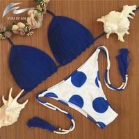 Blue Summer Dress Women Swimwear Fashion Knitted Bikini Set Bathing Suit Handmade Swimsuit Crochet Brazilian Beach
