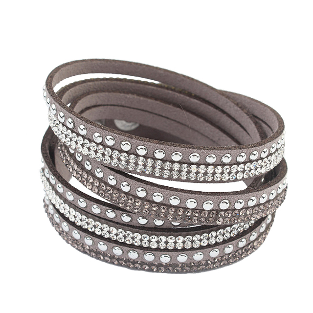 F&U Famous Brand Design Bracelets Crystal Rivet Multilayers Bracelets Little Swa