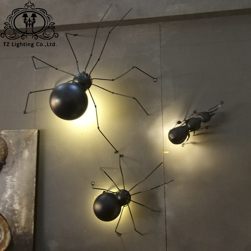 TZ Modern Spider Ant Wall lamps Black Iron Art LED G9 ant wall lamps black iron spider wall lamps bathroom bedroom lights