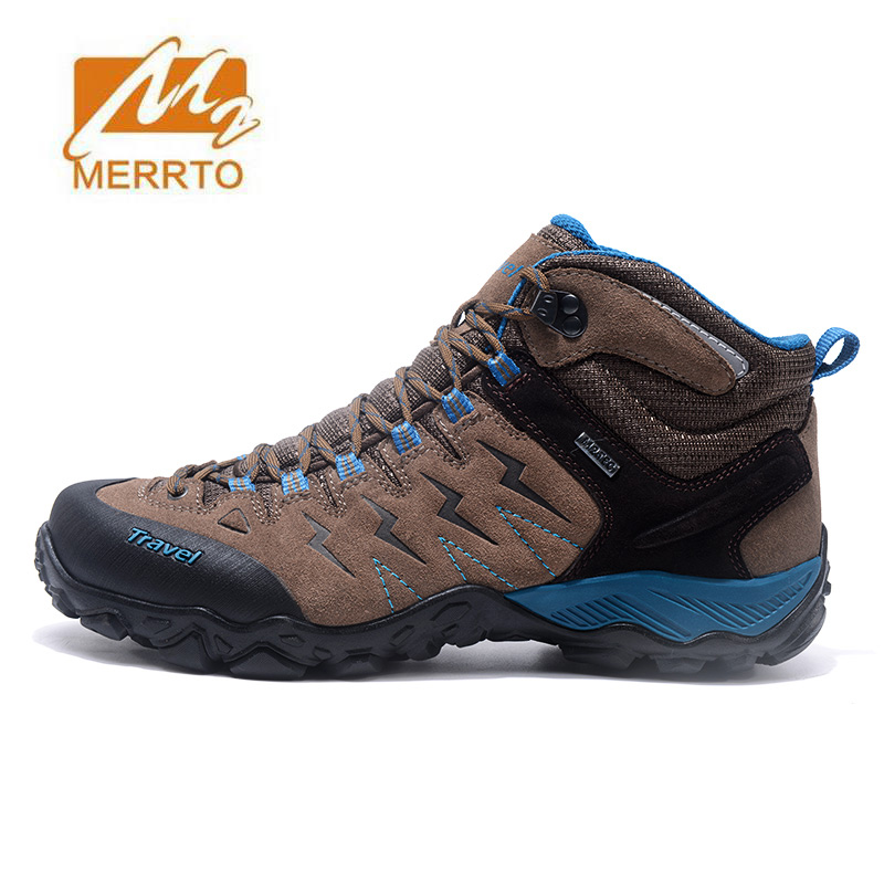 MERRTO Men's Fur Leather Winter Hiking Trekking Boots Shoes Sneakers For Men Winter Outdoor Climbing Mountain Boots Shoes Man ship from ru merrto winter cowhide man outdoor hiking shoes fishing athletic trekking boots waterproof climbing walking sneasker