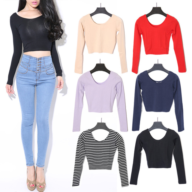 Sales Items 2014 American Apparel Crop Top Vintage Backless Cropped Tops Long-Sleeve Solid Color Tee T Shirt Women