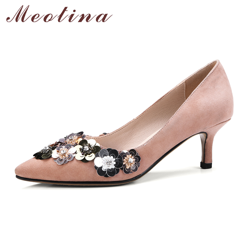 Meotina Flower High Heels Natural Leather Pumps Shoes Women Rhinestone Party Shoes Spring Kid Suede Kitten Heels Party Shoes meotina genuine leather women shoes female plaid party shoes block heel bow strap high heels kid suede ladies pumps 2018 spring