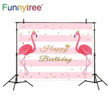 Funnytree backdrops para estúdio de fotografia flamingo rosa coroa de aniversário tarja de fundo profissional photocall impresso