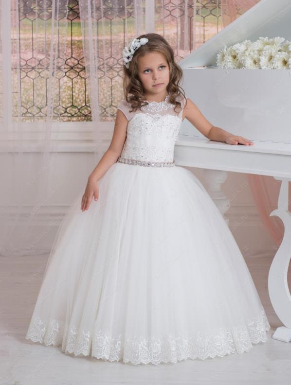Vintage   Flower     Girls     Dresses   For Weddings Party Lace Appliques Beads Cap Sleeves Little Kids Holy First Communion   Dress   2017