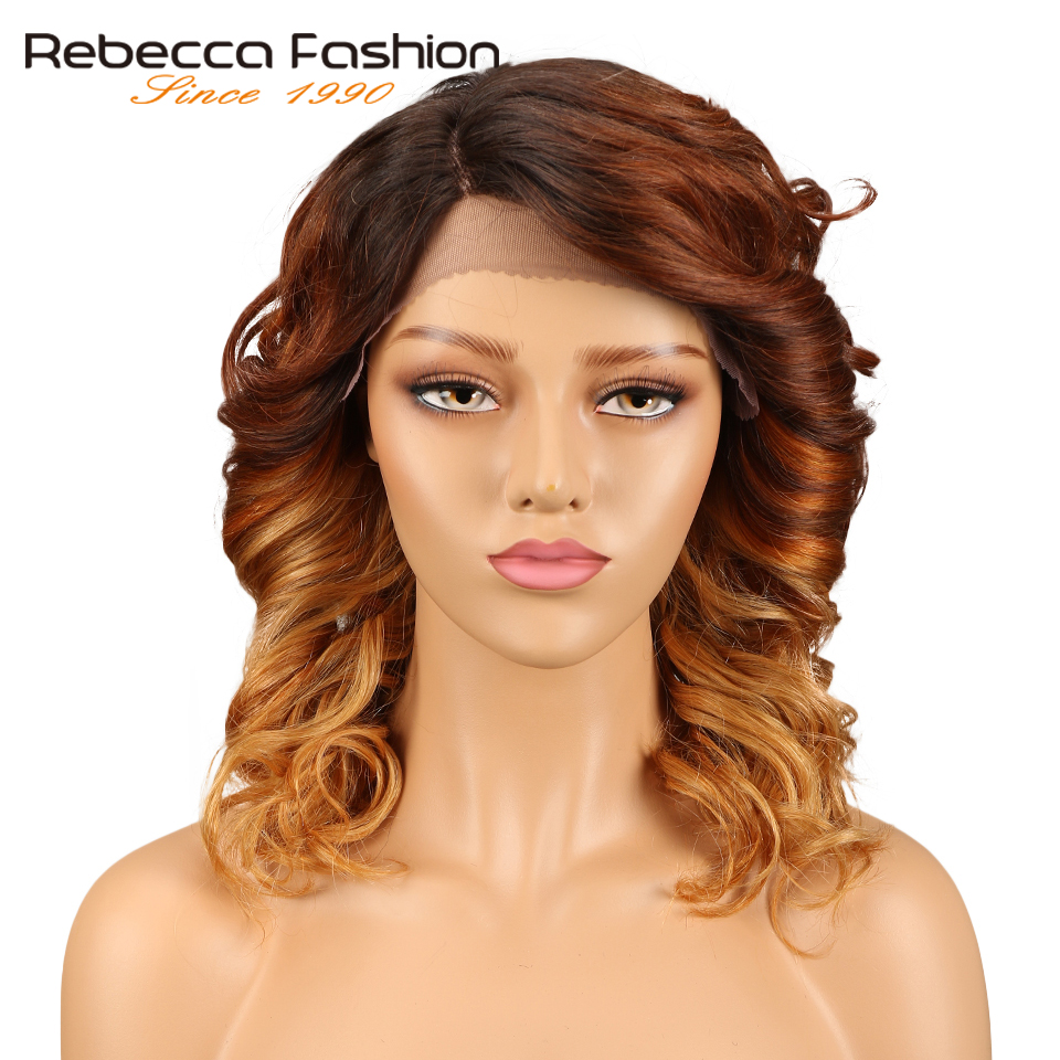 Rebecca л часть Синтетические волосы на кружеве натуральные волосы парики для черный Для женщин Спираль Вьющиеся перуанский Реми свободные вь...