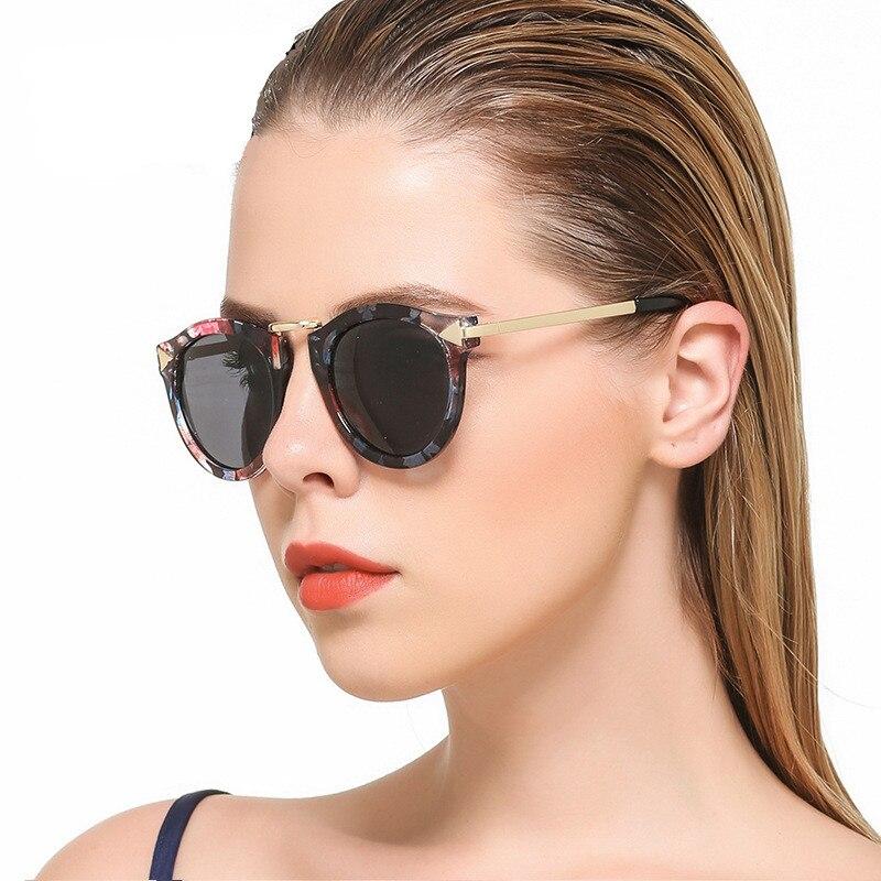 Retro kulaté potahové brýle Dámské značky Návrhář Vintage Sluneční brýle Žena Kovová šipka Sluneční brýle Oculos De Sol Feminino Gafas
