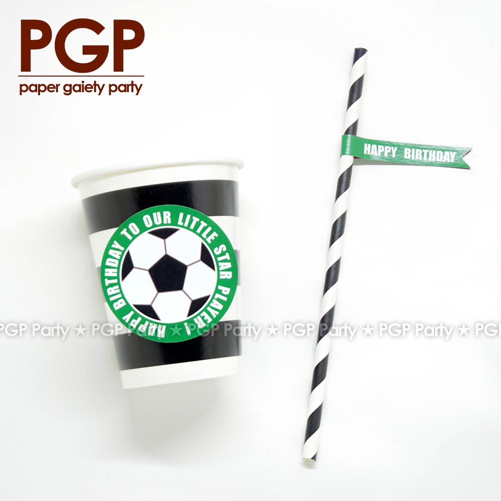 [PGP] Football Party set Drinking Cup Straw Flag Tag World League One boy Birthday UEFA  ...