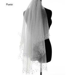 2017 Cheap Bride Veils Beading Pearls Tulle 1.5 meters veu de noiva long wedding veils bridal accessories lace bridal veil