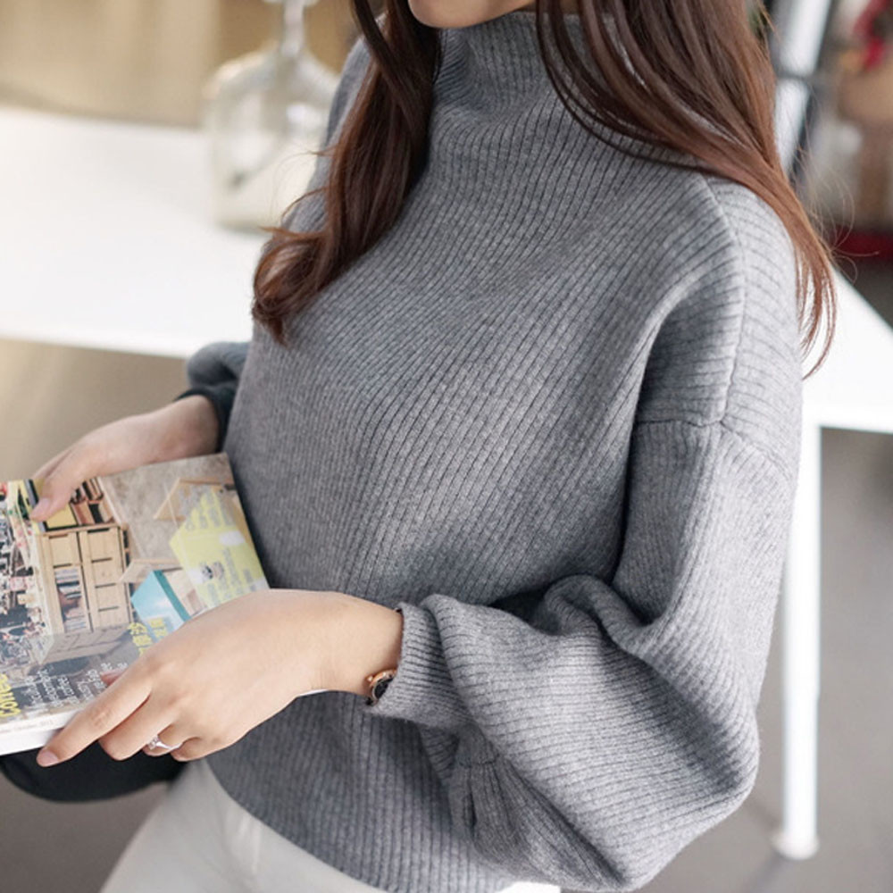 Women Lantern Sleeve Knit Sweater Jumper Loose Turleneck Outwear Top Blouse ladies solid turtleneck pullovers batwing loose F80