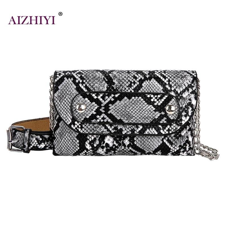 2019 New Girls Small Flap Fashion Snake Print Chain Shoulder Casual Women Waist Fanny Belt Packs Leather Crossbody Chest Bags
