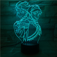 3D Night Light Snow Queen Princess Elsa Anna Touch Colorful LED 3D Visual Table Lamp Home