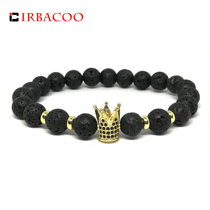 IRBACOO 2018 High Quality Pave CZ Men Bracelet 8mm Lava Stone Beads With Crown or King Charm Bracelet For Men Jewelry Gift