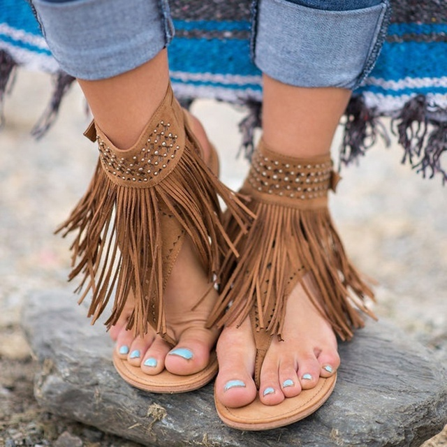 Casual Women Summer Flat Tassels Sandals Bohemian Shoes In 9IE2YHWD