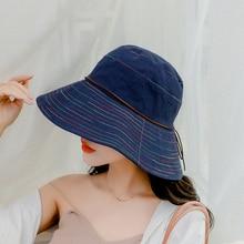 SUOGRY Women Summer Sun Hat Ladies Solid Wide Brim Hats Anti-UV Female Flat Top Fisherman Cap Fishing Korea Style Bucket