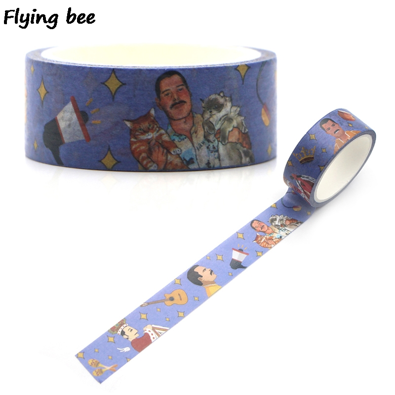 Flyingbee 15mmX5m Paper Washi Tape Freddie Mercury Adhesive Tape DIY Scrapbooking Sticker Rock Punky Label Masking Tape X0321