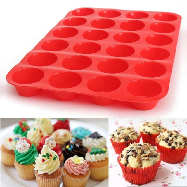 Mini 24 Cavity Muffin Cupcake Silicone Mold Cookie Mould Pan Tray Baking 2 Pack